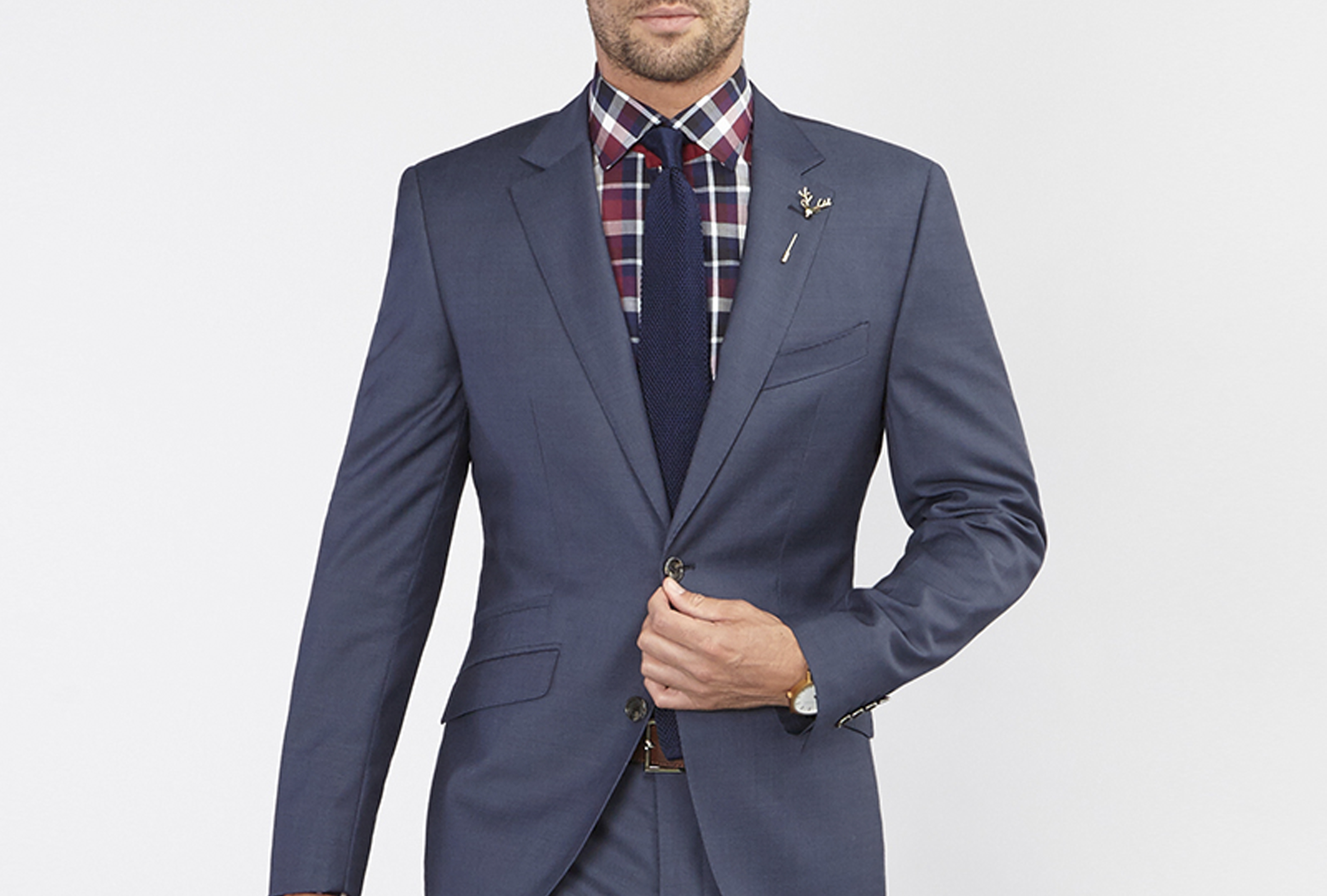 SS08 | Navy Suit | Blue Tie |check Shirt