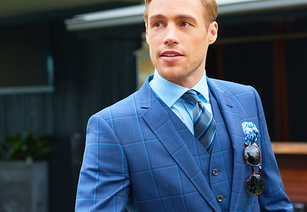 Blue Check Suit | Silk Repp Tie | Peter Jackson