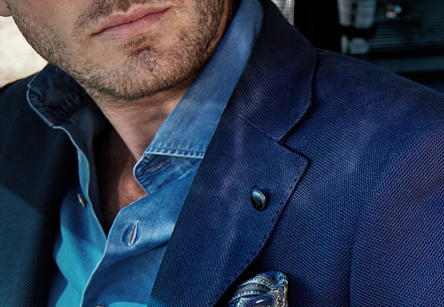Denim blue blazer | Hopsack | denim Shirt | wool pocket square