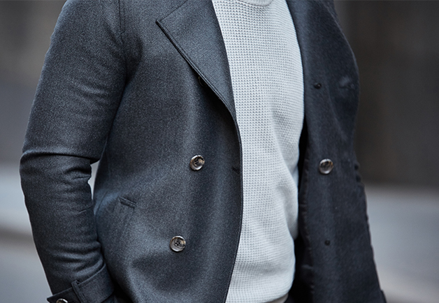 Charcoal Pea Coat | Pea Coat | Mens Winter Coat | Peter Jackson Coats | Winter Tailoring | Waffle Knit