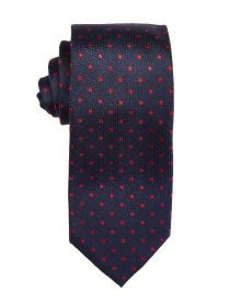 Navy & Ruby Polka Dot Tie