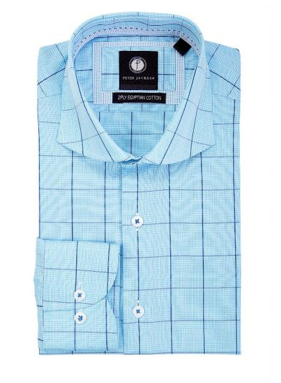 Blue-Tone Windowpane Shirt