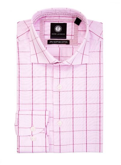 Pink-Tone Windowpane Shirt
